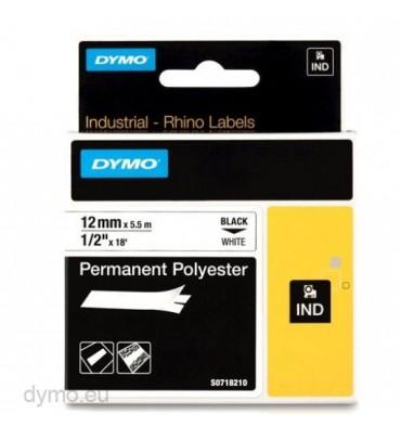DYMO Ruban RHINO polyester permanent adhésif ultra résistant Noir / Blanc 12 mm x 5,5 m - 18483