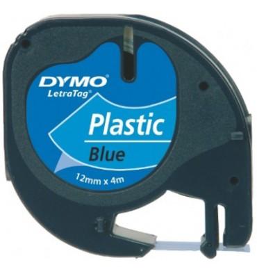 DYMO Ruban LETRATAG Noir / Plastique Bleu 12 mm x 4 m - 91205