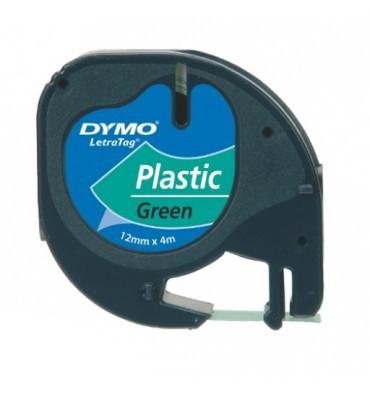 DYMO Ruban LETRATAG Noir / Plastique Vert 12 mm x 4 m - 91204