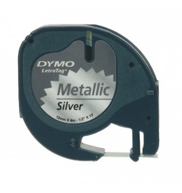 DYMO Ruban LETRATAG Noir / plastique Métal Argenté 12 mm x 4 m - 91208