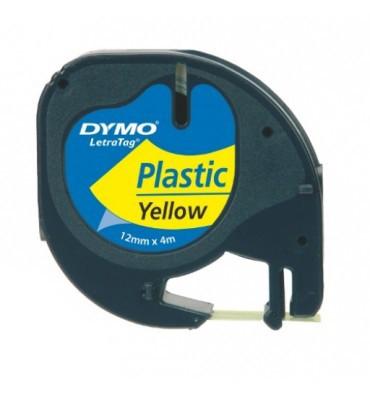 DYMO Ruban LETRATAG Noir / Plastique Jaune 12 mm x 4 m - 91202