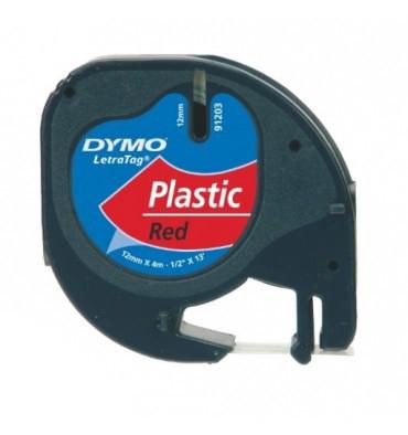 DYMO Ruban LETRATAG Noir / Plastique Rouge 12 mm x 4 m - 91203