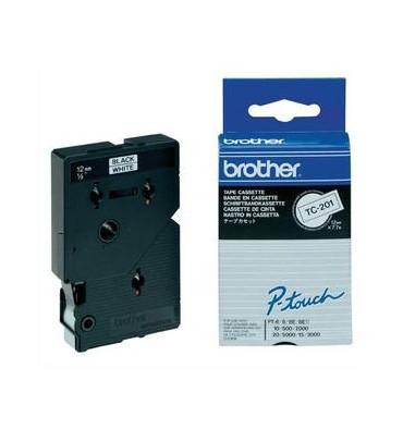 BROTHER Cassette Ruban TC Noir / Blanc 12 mm x 7,7 m - TC201