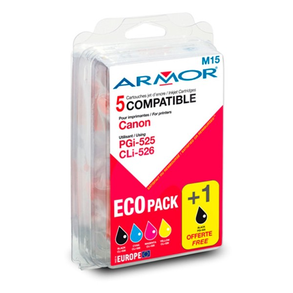ARMOR Compatible Jet d'encre Lot pour Canon PGI-525, CLI-526 BCMY (photo)