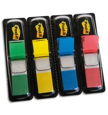 POST-IT Set de 4x35 index neutre couleur classique : rouge, vert, bleu, jaune format 12x44 mm