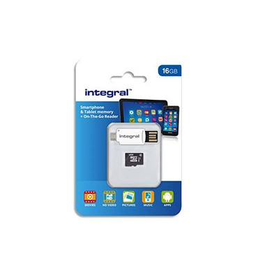 INTEGRAL Carte Micro SDHC 16Go Class 10 90MB/s + Lecteur OTG INMSDH16G10-SPTOTGR + redevance