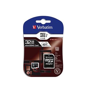 VERBATIM Carte Micro SDHC 32Go + adaptateur Class 10/U1 44083 + redevance