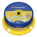 VERBATIM Tour de 25 DVD+RW 4x - 43489 + redevance