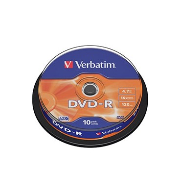 VERBATIM Pack de 10 DVD-R 4,7Go 16x + redevance 43523