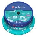 VERBATIM Tour de 25 DVD-RW 4x - 43639 + redevance