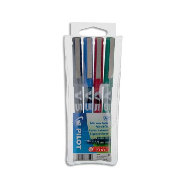 PILOT Pochette de 4 stylos feutre pointe tubulaire 0,5 mm encre liquide 4 couleurs HI-TECPOINT BX-V5