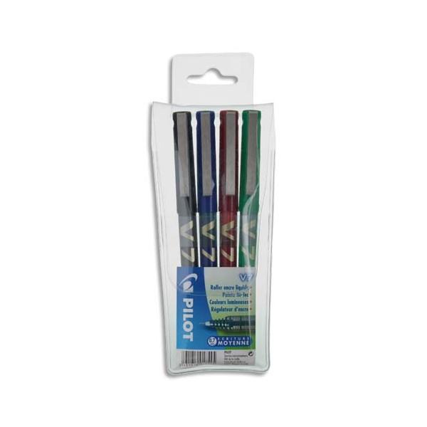 PILOT Pochette de 4 stylos feutre pointe tubulaire 0,7 mm encre liquide 4 couleurs HI-TECPOINT BX-V7