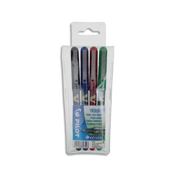 PILOT Pochette de 4 stylos feutre à bille pointe métal 4 couleurs d'encre V-BALL 05