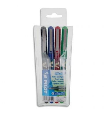 PILOT Pochette de 4 stylos feutre à bille pointe métal 4 couleurs d'encre V-BALL 07