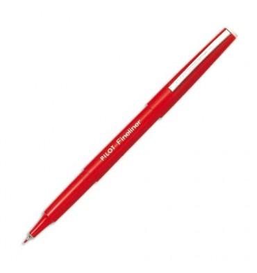 PILOT Stylo feutre pointe fine baguée métal encre rouge corps plastique couleur FINELINER