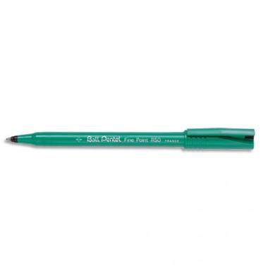 PENTEL Stylo feutre à bille pointe plastique 0,8 mm encre noire corps plastique vert R 50