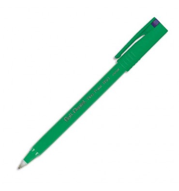 PENTEL Stylo feutre à bille pointe plastique 0,8 mm encre bleue corps plastique vert R 50