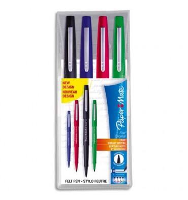 PAPERMATE Pochette de 4 feutres Nylon coloris standard : bleu, noir, rouge, vert