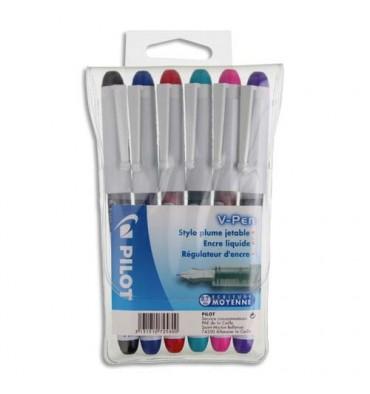 PILOT Pochette de 6 stylos à plume jetables 6 couleurs d'encre V-PEN