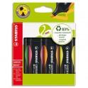 STABILO Pochette de 4 surligneurs GREENBOSS, 83% de matière recyclée, coloris assortis