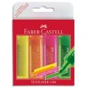 FABER CASTELL Pochette de 4 surligneurs TEXTLINER 1546, pointe feutre biseautée, assortis