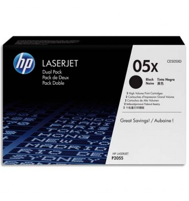 HP Twin Pack cartouches toner laser noir 05X - CE505XD