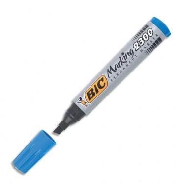 BIC Marqueur permanent pointe biseautée corps plastique encre à base d'alcool bleue 2300