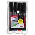 UNIBALL 4 marqueurs permanents pointe ogive encre pigmentée à base d'eau 4 couleurs UNI PROCKEY PM122