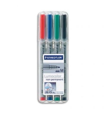 STAEDTLER Pochette de 4 feutres rétroprojection pointe moyenne encre soluble coloris assortis LUMOCOLOR