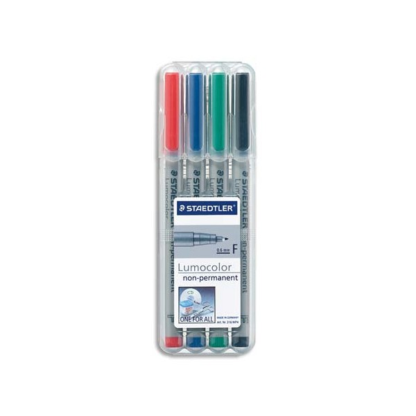 STAEDTLER Pochette de 4 feutres pour rétroprojection pointe fine encre soluble coloris assortis LUMOCOLOR
