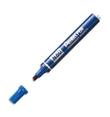 PENTEL Marqueur permanent pointe biseau corps métal encre bleue indélébile N60