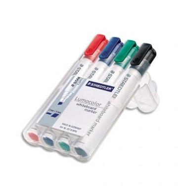STAEDTLER Pochette de 4 marqueurs effaçables à sec pointe biseau encre alcool 4 couleurs assorties 351B