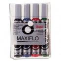 PENTEL Pochette de 4 marqueurs effaçables à sec tableaux blancs pointe ogive large encre liquide MAXIFLO