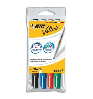 BIC Pochette de 4 Feutres effaçables à sec pointe ogive encre cétone 4 couleurs VELLEDA