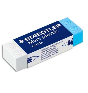 STAEDTLER Gomme plastique Mars Combi, un coté blanc pour le crayon, un coté bleu pour l'encre