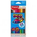 MAPED Pochette 12 crayons de couleurs COLOR'PEPS DUO. 1 crayon - 2 couleurs. Coloris assortis