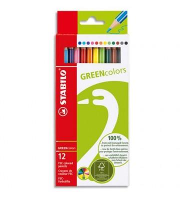 STABILO Etui 12 crayons de couleur GREENColors. Bois FSC, finition vernis mat. Coloris assortis