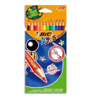 BIC KIDS Etui carton 12 crayons de couleur EVOLUTION. Longueur 17,5 cm. Coloris assortis