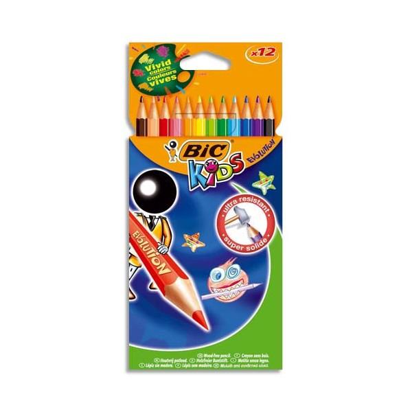 BIC KIDS Etui carton 12 crayons de couleur EVOLUTION. Longueur 17,5 cm. Coloris assortis (photo)