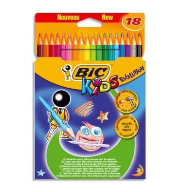 BIC KIDS Etui carton 18 crayons de couleur EVOLUTION. Longueur 17,5 cm. Coloris assortis