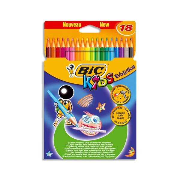 BIC KIDS Etui carton 18 crayons de couleur EVOLUTION. Longueur 17,5 cm. Coloris assortis (photo)