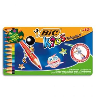 BIC KIDS Boîte métal de 12 crayons de couleur EVOLUTION. Longueur 17,5 cm. Coloris assortis