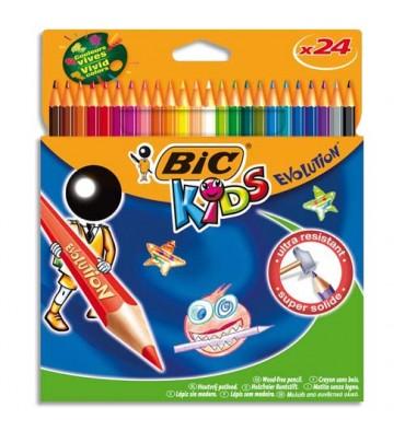 BIC KIDS Etui carton 24 crayons de couleur EVOLUTION. Longueur 17,5 cm. Coloris assortis