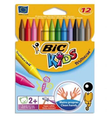 BIC KIDS Pochette 12 craies PLASTIDECOR plastique de coloriage diamètre 8 mm x longueur 12 cm