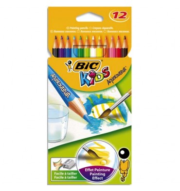 BIC KIDS Pochette 12 crayons de couleur aquarellable AQUACOULEUR. Corps 17,5 cm. Coloris assortis
