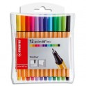 STABILO Pochette 12 mini stylos feutres POINT88. Pointe extra fine. Coloris assortis