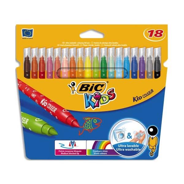 BIC KIDS Pochette 18 feutres de coloriage KID COULEUR. Pointe moyenne. Coloris assortis (photo)