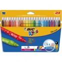 BIC KIDS Pochette 24 feutres de coloriage KID COULEUR. Pointe moyenne. Coloris assortis
