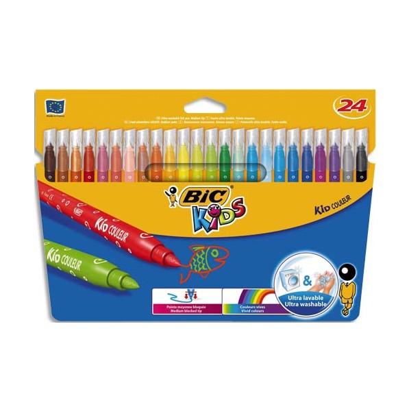 BIC KIDS Pochette 24 feutres de coloriage KID COULEUR. Pointe moyenne. Coloris assortis (photo)
