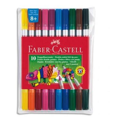 FABER CASTELL Pochette 10 feutres de coloriage. Double pointe : fine & moyenne. Coloris assortis